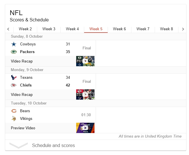 NFL teams listed wrong way round on google.co.uk